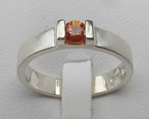 Handmade Orange Sapphire Silver Engagement Ring