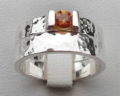 Orange Sapphire Hammered Sterling Silver Bridal Set
