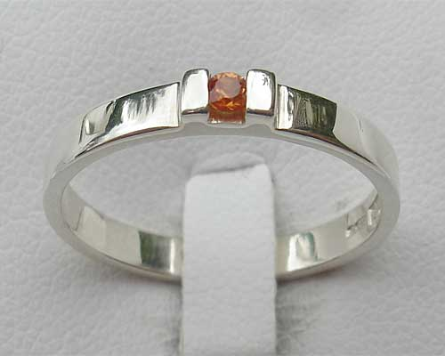 Contemporary Orange Sapphire Silver Engagement Ring