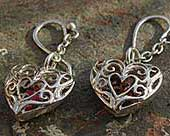 Ornate heart shaped drop earrings