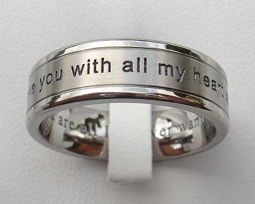 Personalised titanium wedding ring