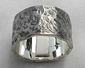 Oxidised hammered silver wedding ring