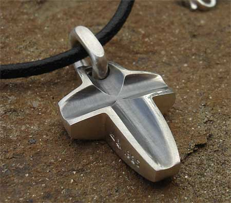 Oxidised silver cross necklace