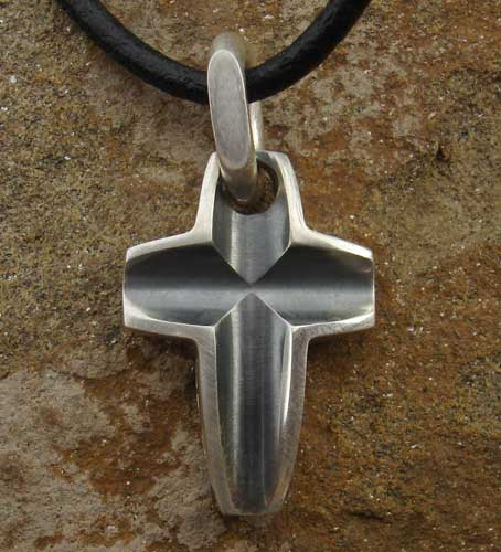 Oxidised silver cross