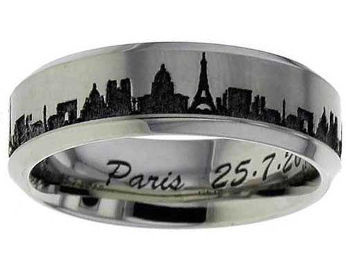 Paris Skyline Titanium Ring
