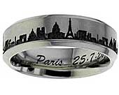 Titanium ring with the Parisienne skyline