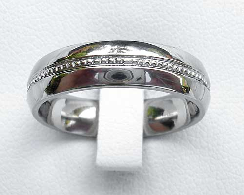 Modern Patterned Titanium Wedding Ring