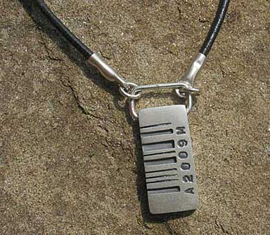 Personalised barcode pendant