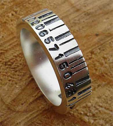 Personalised barcode silver ring