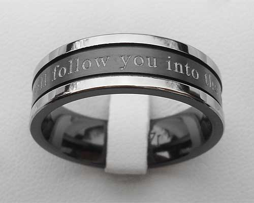 Personalised black wedding ring