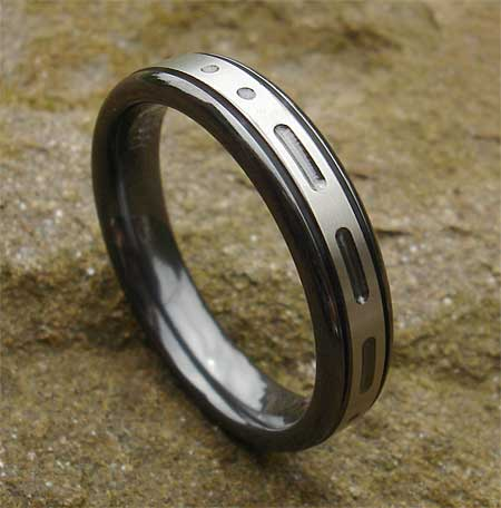 Morse code personalised wedding ring