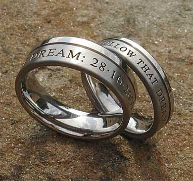Personalised titanium wedding rings