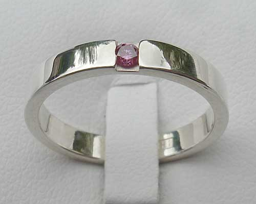 Pink Diamond Hammered Silver Engagement Ring