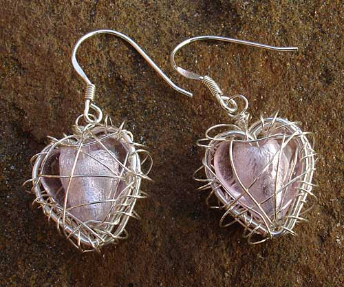 Pink Silver Caged Heart Earrings