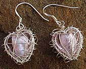 Caged pink heart earrings
