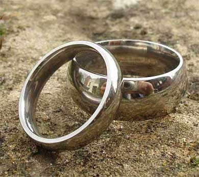 Plain domed wedding rings
