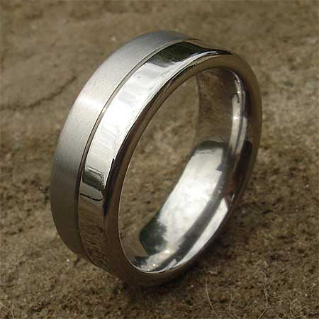 Polished and matt titanium wedding ring