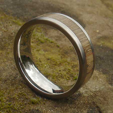 Titanium and wood wedding ring