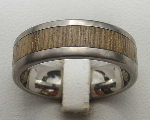 Titanium and wooden wedding ring