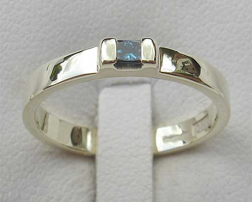 Princess cut diamond silver engagement ring