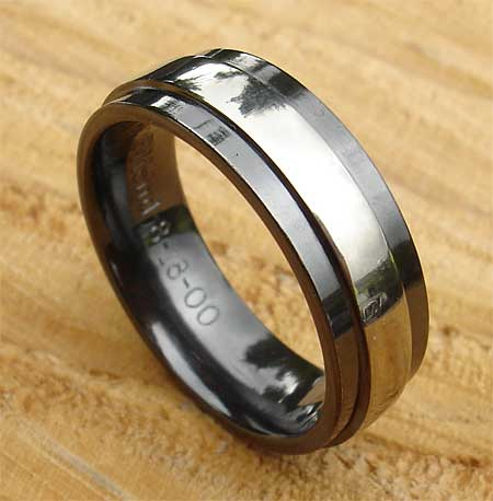 Mens Black Wedding Ring In A Twin Finish LOVE2HAVE in the UK