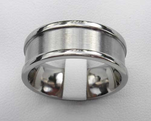 Recessed Titanium Wedding  Ring