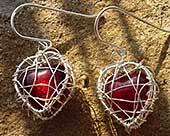 Red heart silver earrings