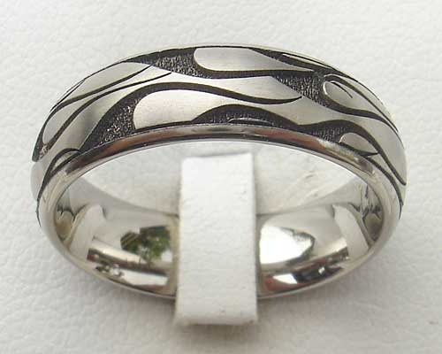 Fiery Flame Pattern Designer Titanium Ring