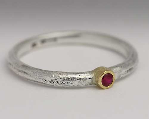 Recycled Silver Ruby Gold Engagement Ring