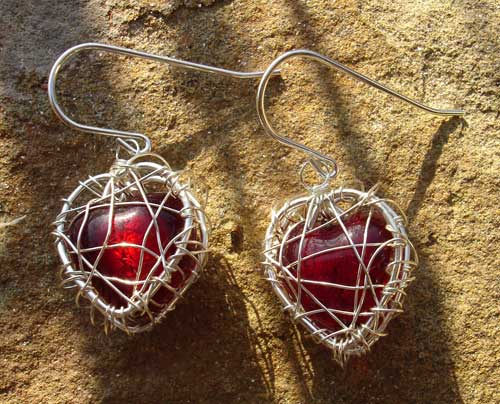 Red Silver Heart Cage Earrings