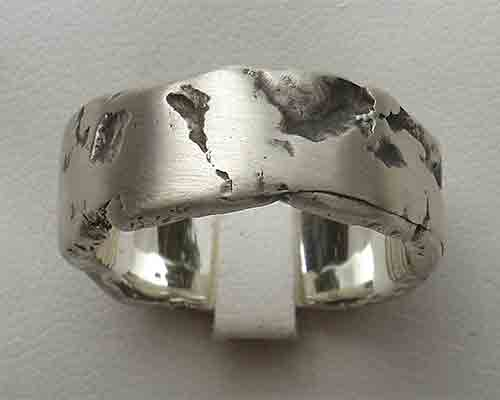 Rock texture silver ring for men