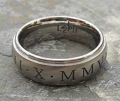 Roman numeral wedding ring