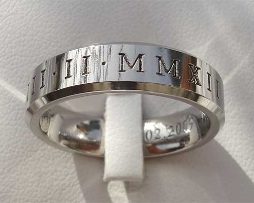 Roman numerals wedding ring
