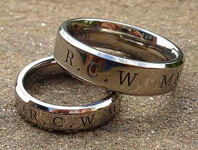 Roman numerals wedding rings