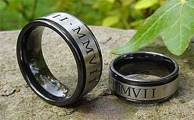 roman numerals zirconium wedding rings set
