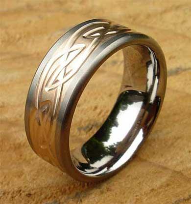Celtic Inlaid Titanium Ring LOVE2HAVE in the UK