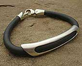 Sterling silver and rubber bracelet for men
