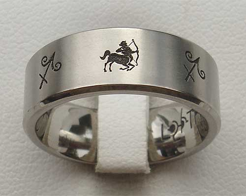Star Sign Titanium Ring Of Sagittarius