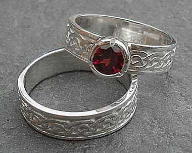 Scottish silver Celtic engagement and wedding ring