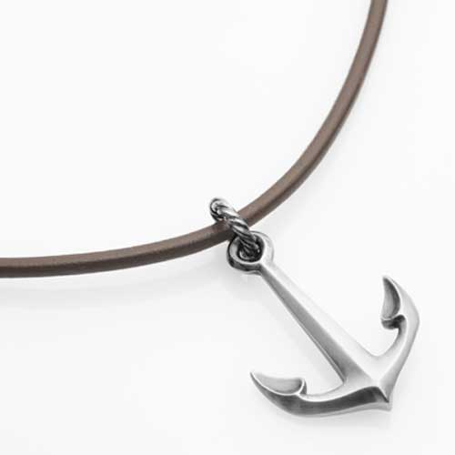 Ships Anchor Silver Necklace On Leather