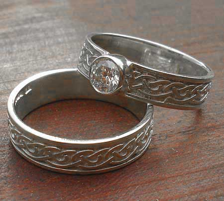 Silver Celtic wedding and engagement ring