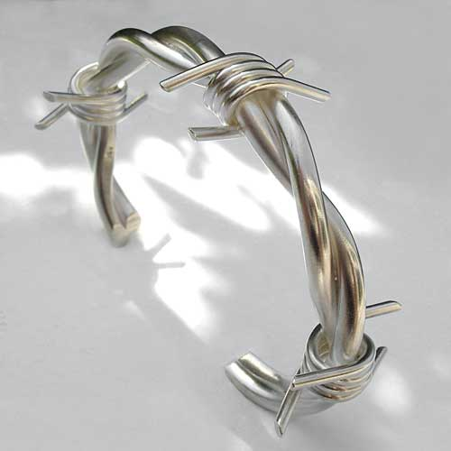 Silver barbed wire bangle