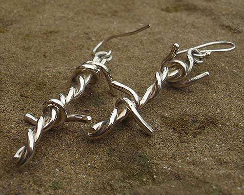 Barbed Wire Silver Earrings