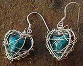 Silver caged heart drop earrings