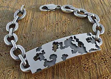 Army Camouflage Mens ID Bracelet