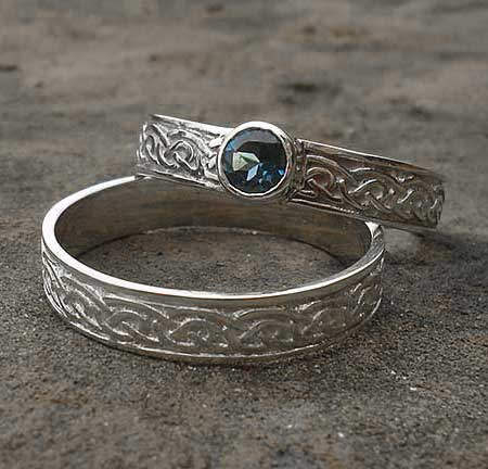 silver Celtic bridal set