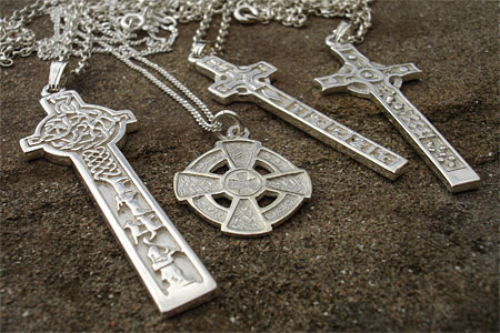 Silver Celtic crosses