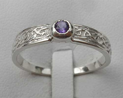 Silver Celtic engagement ring