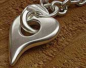 Heart shape solid silver necklace