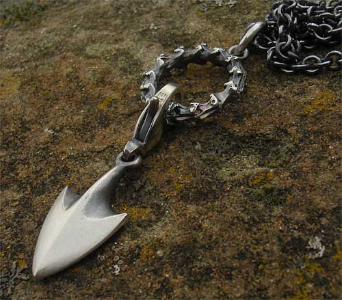 Arrow Tip Oxidised Silver Medieval Necklace